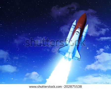 Rocket Through Clouds - Elements of this Image Furnished By NASA - stock photo