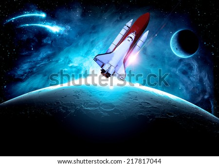 Rocket to the Moon - Elements of this Image Furnished By NASA - stock photo
