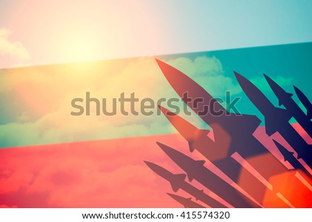 Rockets silhouettes background Bulgaria flag. Toned - stock photo