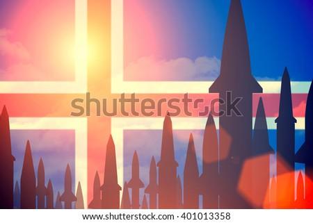 Rockets silhouettes background Iceland flag. Toned - stock photo