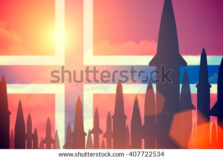 Rockets silhouettes background  Norway flag. Toned - stock photo