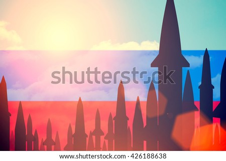 Rockets silhouettes background Russia flag. Toned - stock photo