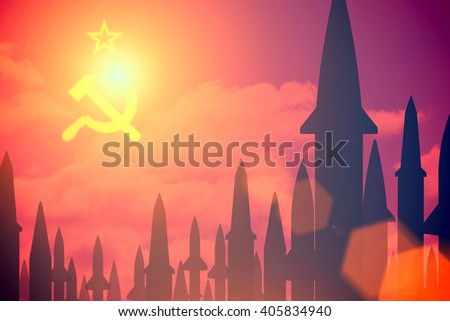 Rockets silhouettes background USSR flag. Toned - stock photo