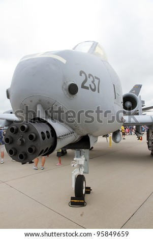 ROCKFORD, IL - JULY 31: Fairchild Republic A-10 Thunderbolt airplane on display at the annual Rockford Airfest on July 31, 2010 in Rockford, IL - stock photo