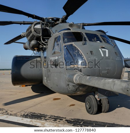 ROCKFORD, IL- JUNE 2: Sikorsky H53E/S80 Sea Dragon helicopter on display at the June 2 2012 Rockford AirFest - stock photo