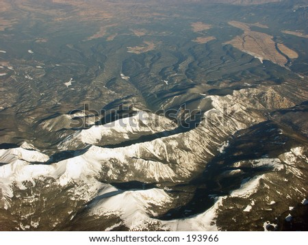 Rockies from the air - stock photo