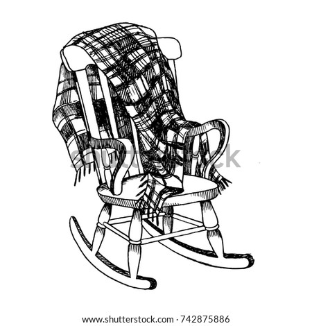 rocking chair drawing. Rocking Chair And Plaid Blanket Engraving Raster Illustration. Scratch Board Style Imitation. Hand Drawn Drawing S