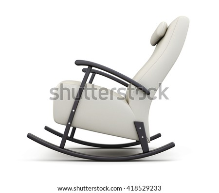 Rocking chair isolated on white background. Side view. 3d rendering.