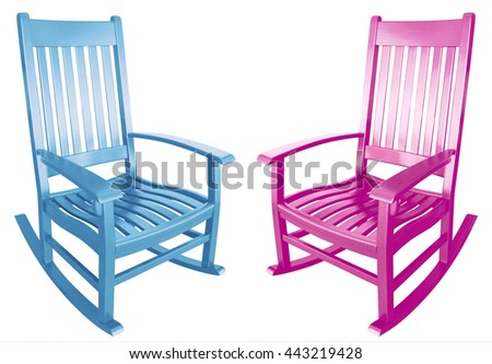 rocking chair isolated painted wood country relaxing beach furniture traditional contemporary wooden friendly welcoming hospitality chairs living comfortable baby shower twins gender surprise identity - stock photo
