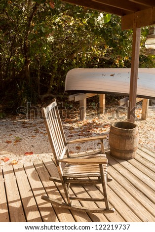 Rocking chair on porch of lighthouse keeper home at Cape Florida Bill Baggs State Park
