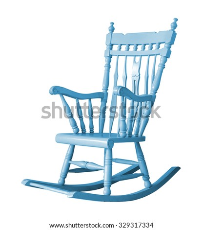 Rocking chair on white background with clipping path