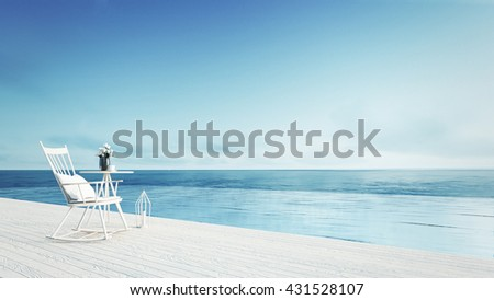 Rocking Chair - Sundeck on Sea view for  vacation and summer / 3d render outdoor living