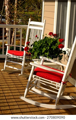 Rocking Chairs On An Inviting Southern Porch