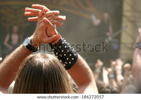 Rocking crowd at heavy metal festival / concert
