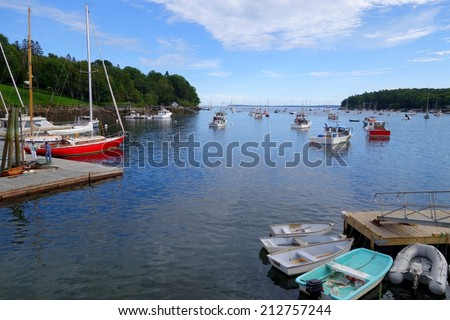 rockport maine harbor on a summer's day - stock photo