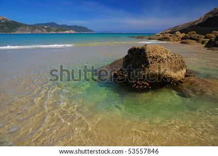 rocks and beach - stock photo