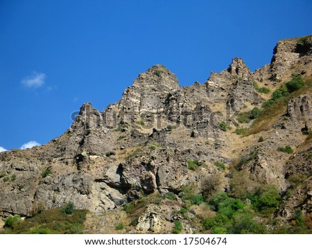 rocks and blue sky,armenia - stock photo