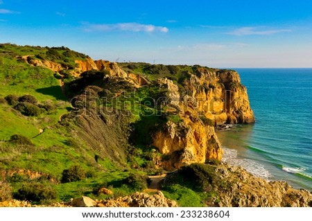 Rocks and Cliffs along the Coast of Lagos, Algarve, Portugal - stock photo
