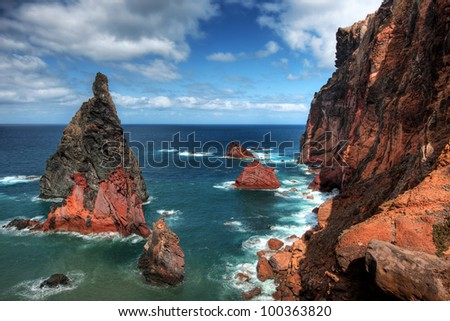 Rocks and cliffs at Cabo sao Lorencio Madeira Portugal - stock photo