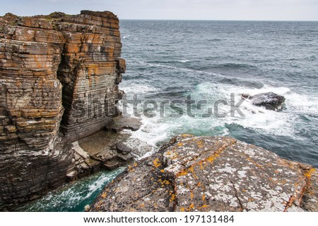 Rocks and cliffs of Mull Head Nature Reserve,  Deerness, Orkney island, UK  - stock photo