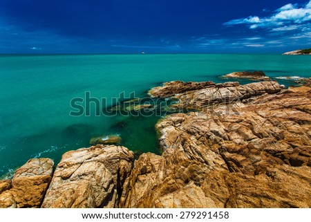 Rocks and cliffs over the ocean on the north side of Koh Samui island, Thailand - stock photo