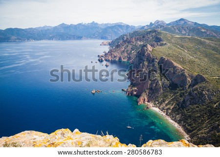 Rocks and coastal landscape around Porto in the west of Corsica