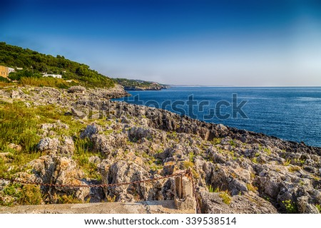 rocks and coves of the coast of Salento of the Ionian Sea in Italy,  near Marina Serra Tricase, Lecce, Apulia