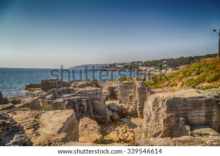 rocks and coves of the coast of Salento of the Ionian Sea in Italy,  near Tricase, Lecce, Apulia