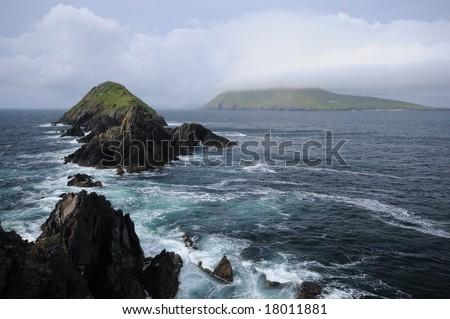 rocks and islands of Atlantic - stock photo