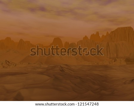 Rocks and mountains desert under big clouds in Venus planet - stock photo