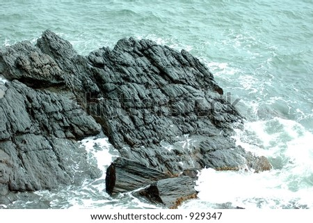 Rocks and Ocean,cliff walk,Rhode Island - stock photo
