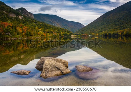 Rocks and reflections in Echo Lake, at Franconia Notch State Park, New Hampshire.
