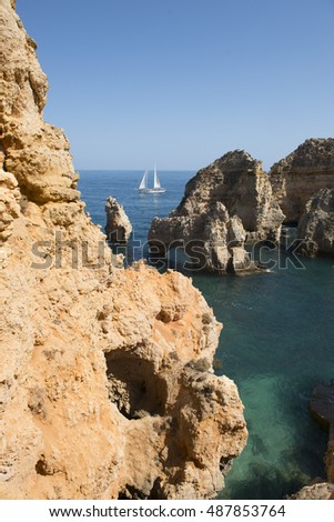 Rocks and rocky beach in Portugal, Lagos