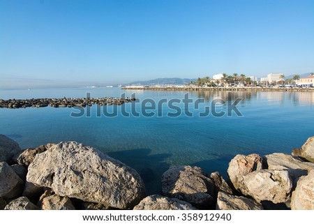 Rocks and water on a sunny day near Portixol in Mallorca, Balearic islands, Spain