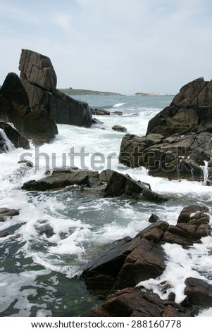 rocks and waves 3 - stock photo
