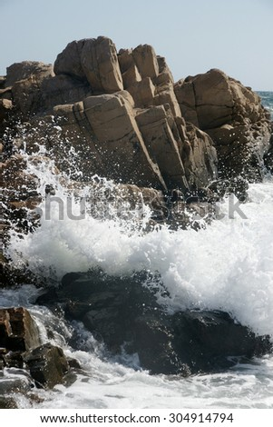 rocks and waves 6 - stock photo