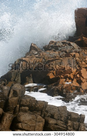 rocks and waves 5 - stock photo