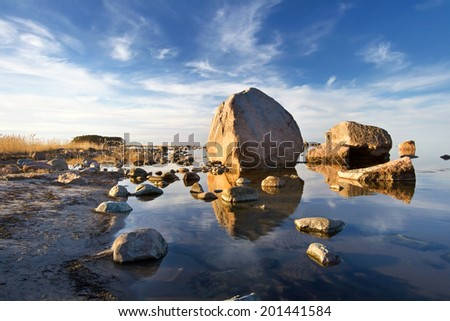 Rocks at evening light - stock photo