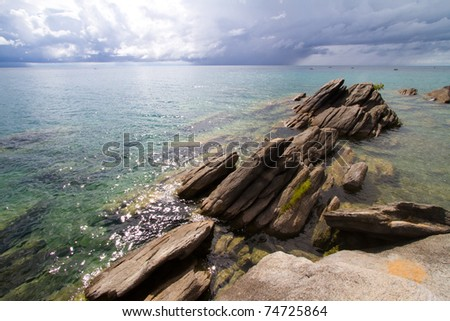 Rocks at the edge of Lake Malawi, Nkhata Bay