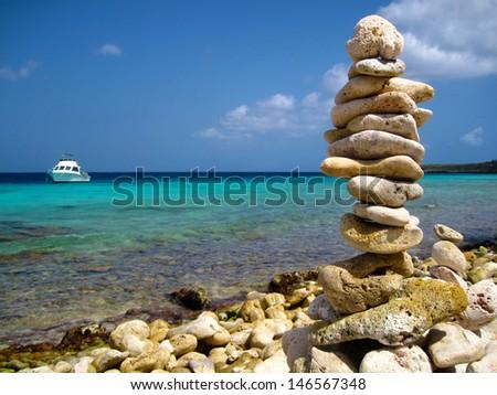 Rocks by Tropical Ocean - stock photo