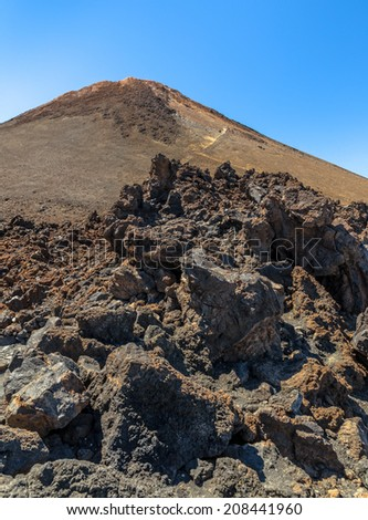 Rocks formed by lava near Teide summit. - stock photo