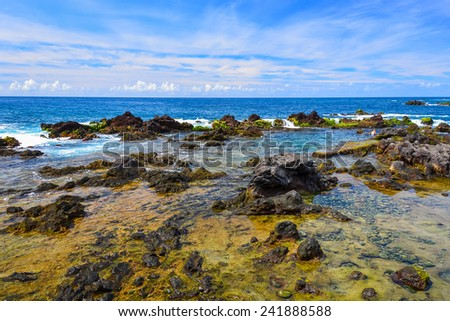 Rocks in sea near Puerto de la Cruz town on coast of Tenerife island, Spain
