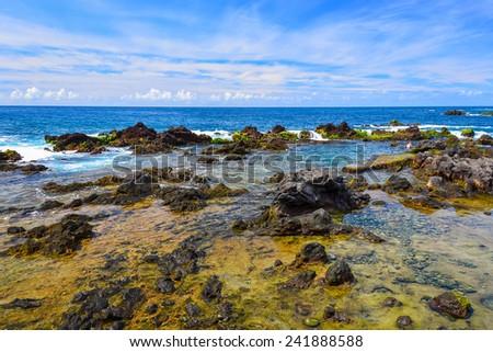 Rocks in sea near Puerto de la Cruz town on coast of Tenerife island, Spain - stock photo