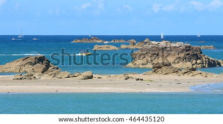 Rocks in the blue ocean in french Brittany