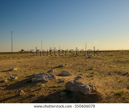 Rocks in the desert by the Salmi road in Kuwait on a very cold winter's morning