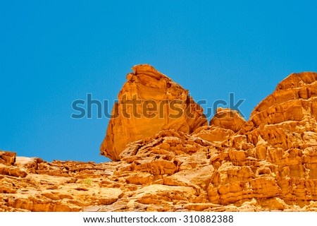 Rocks in the Desert of Wadi Rum, The Valley of the Moon, southern Jordan.
