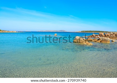 rocks in the water in Conca Verde beach, Sardinia - stock photo