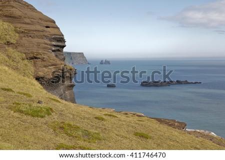 Rocks in Vik near Reynisdrangar. Iceland.  - stock photo