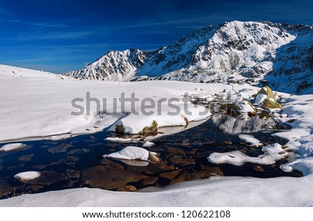 Rocks in water in winter landscape of 5 lakes valley, Tatra Mountains, Poland