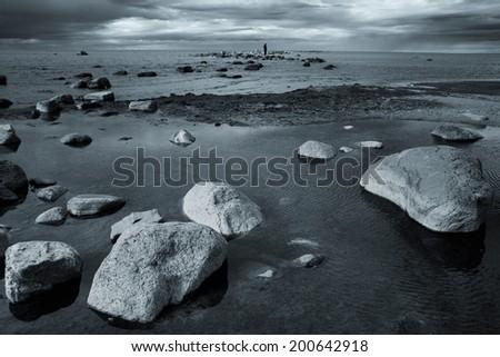rocks into the sea. scenic spots in Europe - stock photo